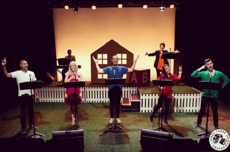 Bert LaBonté, Gretel Scarlett, Tom Sharah, Sun Park, & Bobby Fox as Happy People; Back right: Robyn Arthur