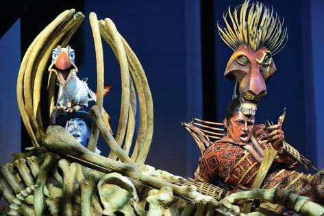 Cameron Goodall and Josh Quong Tart as Zazu and Scar